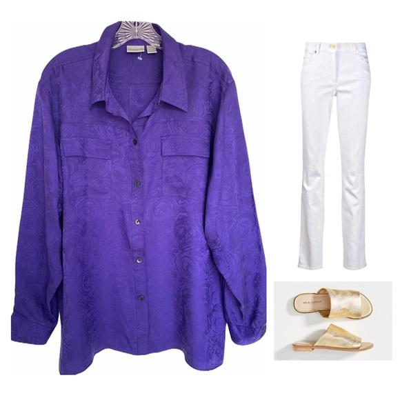 Chico's Purple Silk Floral Blouse SZ 3 (16/18-XL)